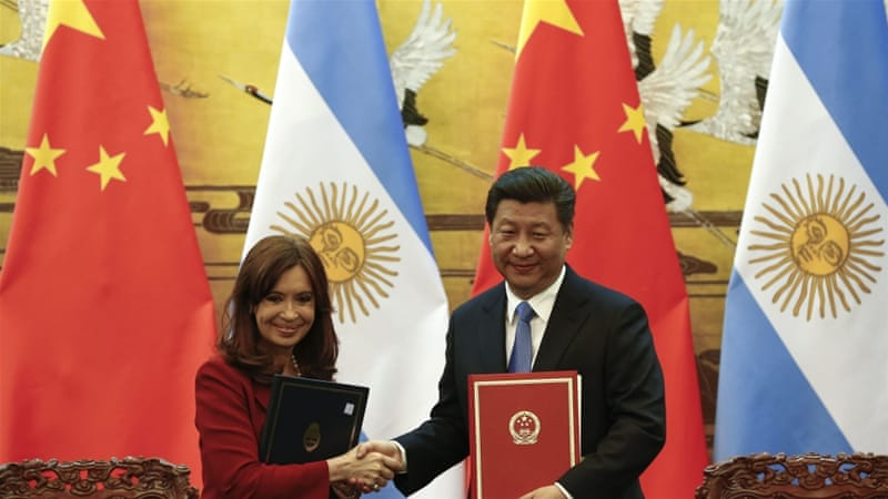 Fernandez is on a mission to China to expand trade and political ties [Reuters]