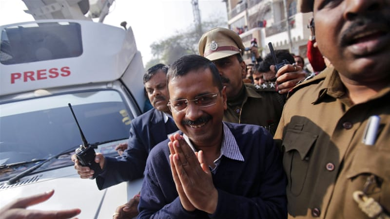 Most polls say Kejriwal's anti-corruption party is set to push Modi's Bharatiya Janata Party into second place [Reuters]