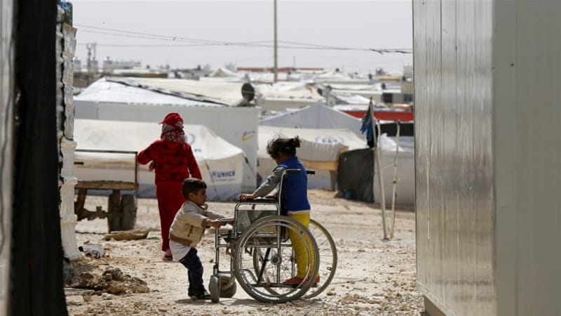 Syrian refugee children at the Zaatari refugee camp in the Jordanian city of Mafraq, near the border with Syria [Reuters]