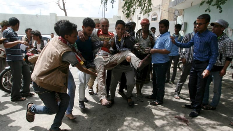 Five people were killed and about 80 wounded when the Houthis opened fire on demonstrators in Taez [Reuters]