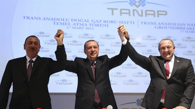 Erdogan with his Azerbaijani and Georgian counterparts during the ground-breaking ceremony for TANAP pipeline in Turkey [REUTERS]