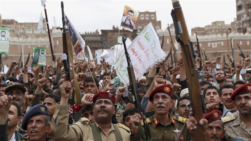 The Houthis have urged their supporters to protest what they call blatant Saudi aggression [AP]