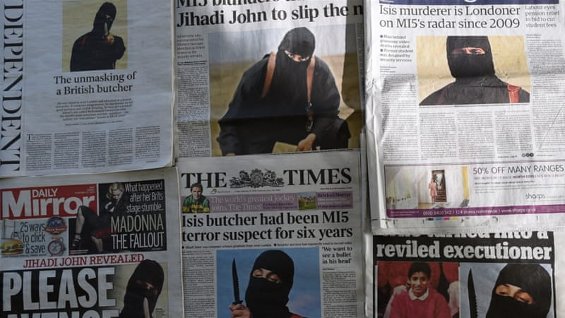 British newspapers front-page headlines and stories on the identification of the masked ISIL fighter dubbed 'Jihadi John' [AFP]