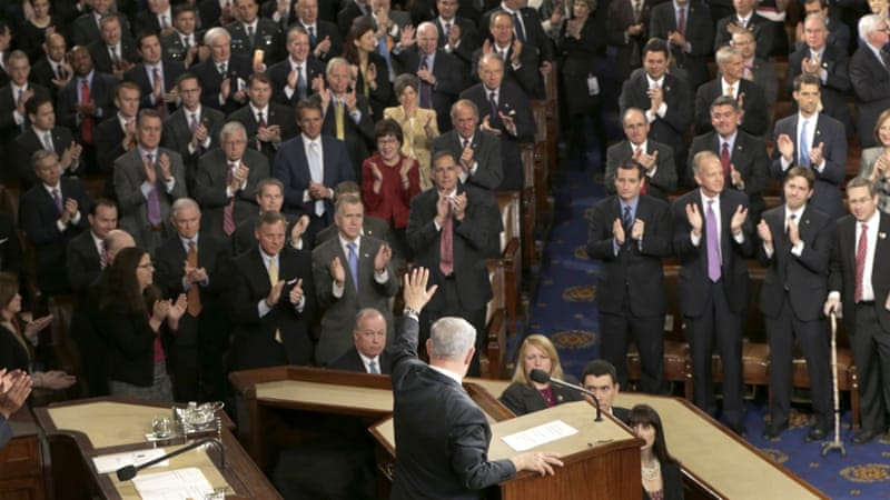 Israeli Prime Minister Benjamin Netanyahu was greeted at the US Congress by a long standing ovation [AP]