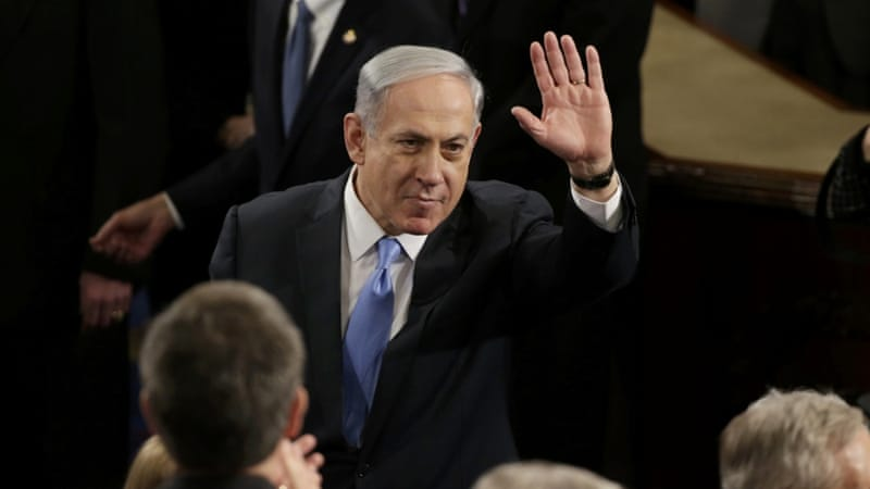 Netanyahu arrives prior to his address in the House Chamber on Capitol Hill in Washington [REUTERS]