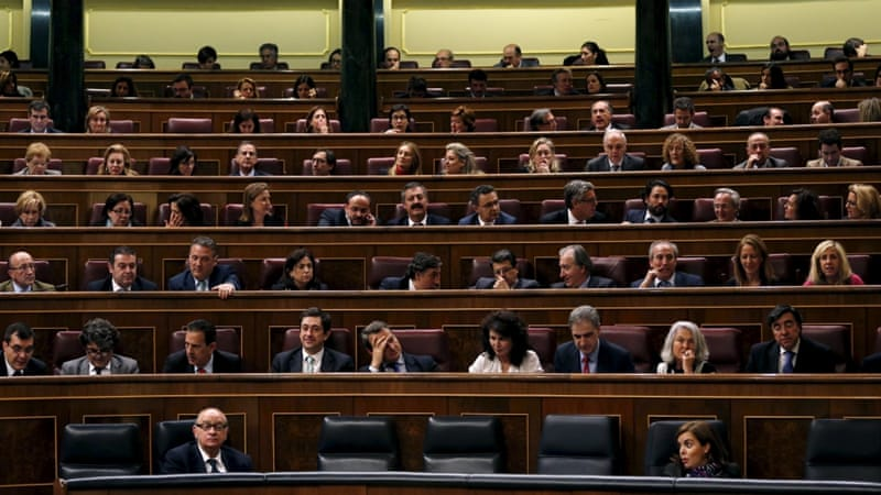 Spain's interior minister and deputy prime minister attend a debate of the Spanish government's new security law [REUTERS]