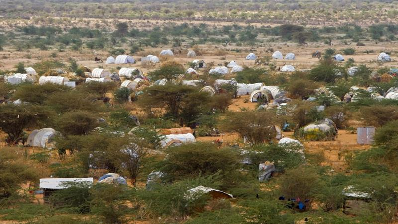 The United Nations puts the number of registered refugees in the overcrowded settlements of permanent structures, mud shanties and tents, at around 335,000 [EPA]