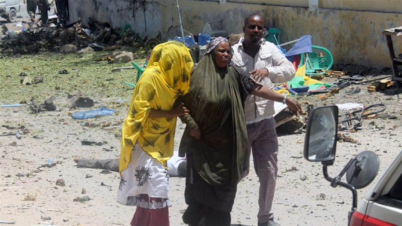 The majority of the victims in the attack on the ministry, located in a busy street, were civilians [Mustaf Abdi Nor Shafana/Al Jazeera]