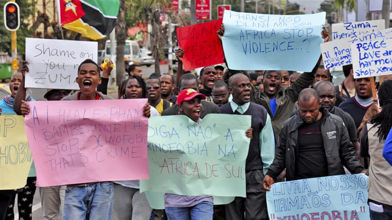 A protest against xenophobic attacks in South Africa, in Mozambique [EPA]