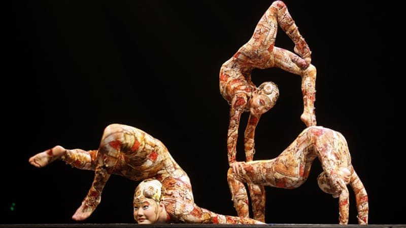 Contortion artists perform during the Cirque du Soleil's show in Madrid [REUTERS]