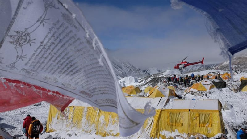 Helicopter crews flew to the aid of climbers on Mount Everest during a break in the weather [AFP]