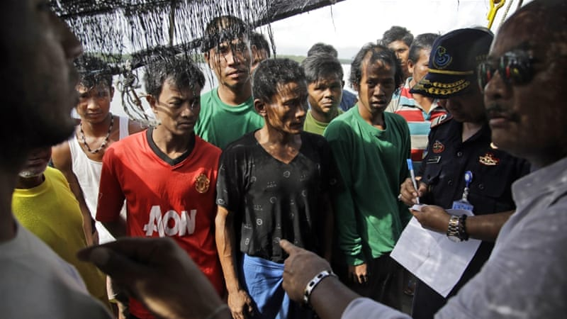 Indonesian officials questioned the foreign fishermen who had been forced into working as slaves [AP]