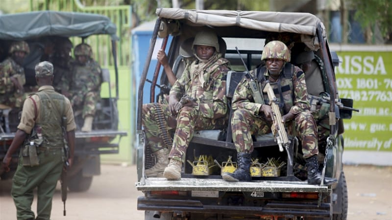 Kenya's president vowed to retaliate for the 'mindless slaughter' at Garissa in the 'severest way' [Reuters]