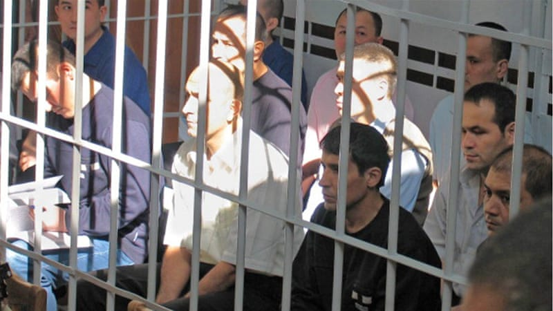 Rebels involved in mass disturbances in Andizhan in May 2005, appear before the Supreme Court of Uzbekistan [Getty]