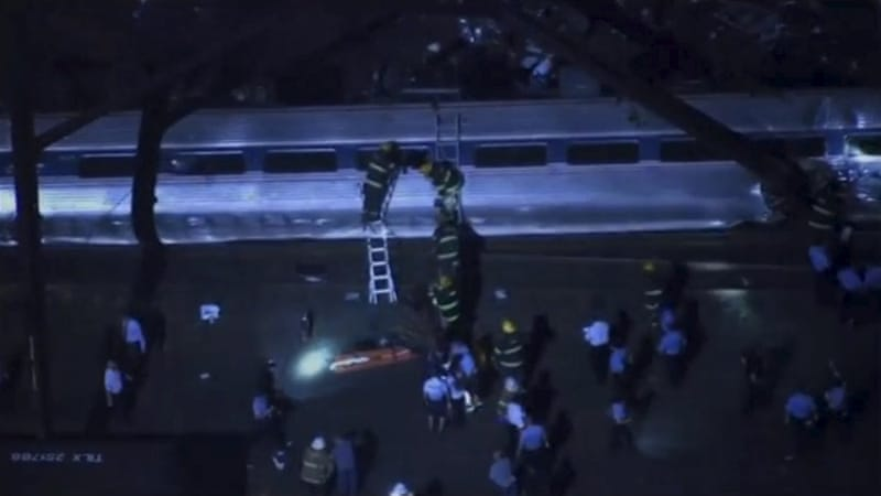 Aerial footage of first responders and ambulance at the scene of a train derailment in Philadelphia, Pennsylvania [Reuters]