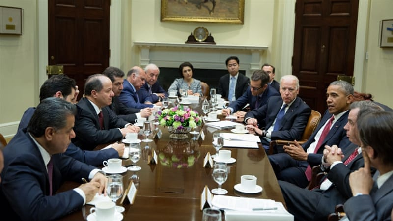 Barzani meets with Obama and Biden during his official visit to Washington [Getty]