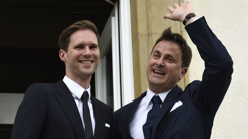 Bettel, right, is only the second leader in the world to wed a gay partner after Iceland's prime minister Johanna Sigurdardottir [AFP]