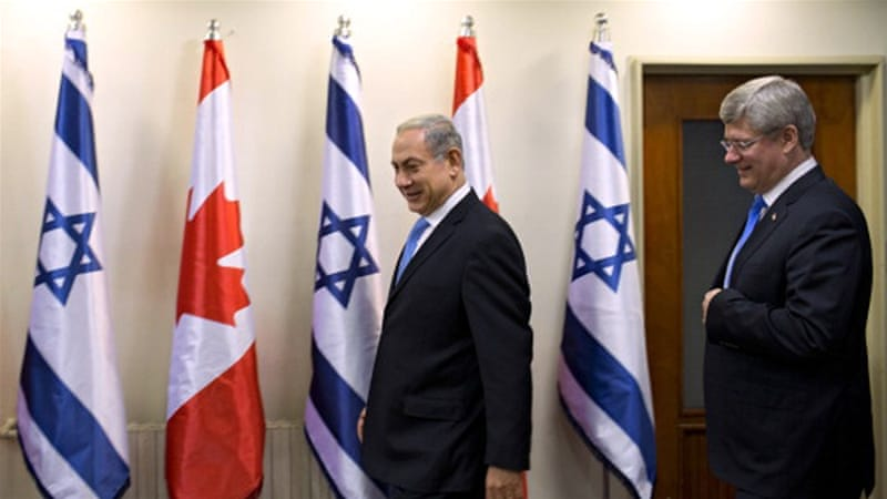 Israeli Prime Minister Benjamin Netanyahu and Canadian Prime Minister Stephen Harper in 2014 [Getty]
