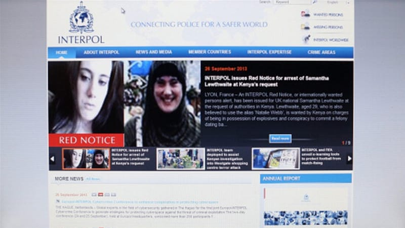 The Interpol website which features a 'Red Notice' for the arrest of Samantha Lewthwaite in England [Getty]