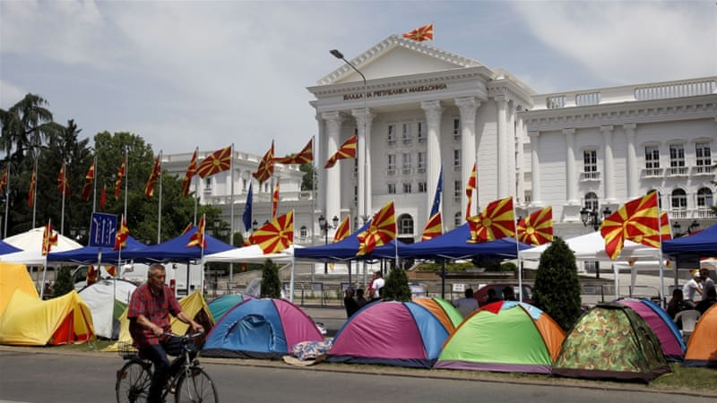 Tents, posted by opposition supporters, in front of the government building in Skopje, Macedonia [AP]