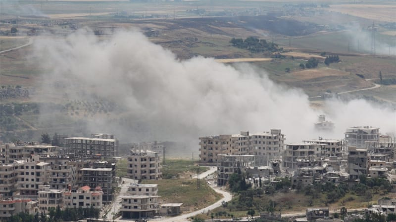 The aftermath of a shelling by jet planes allegedly loyal to Syria's President Bashar al-Assad in Idlib [REUTERS]