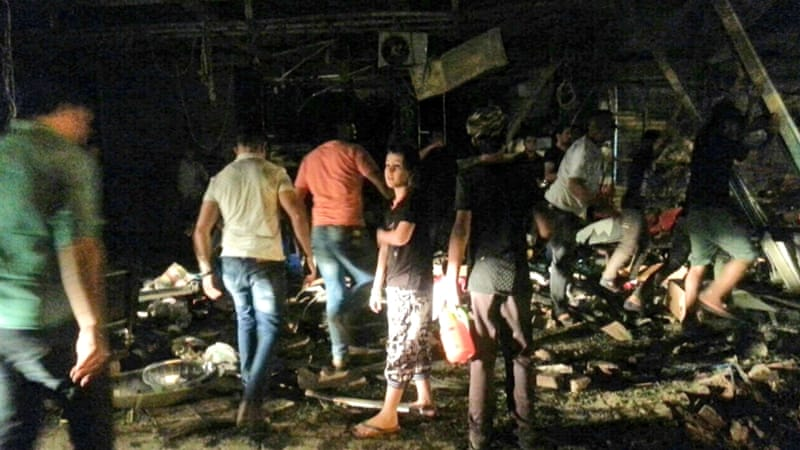 The bomb exploded near restaurants and coffee shops filled with customers in Baghdad's Karrada area [AP]