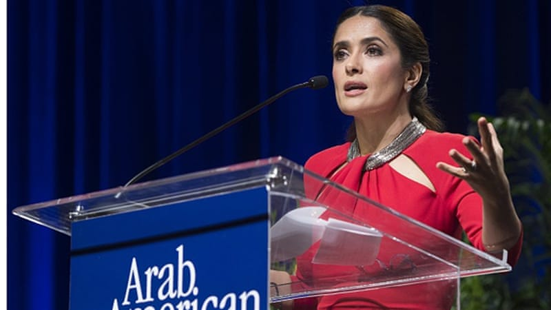 Salma Hayek receives the Individual Achievement Award for producing the animated film adaptation of Khalil Gibran's The Prophet [AFP]
