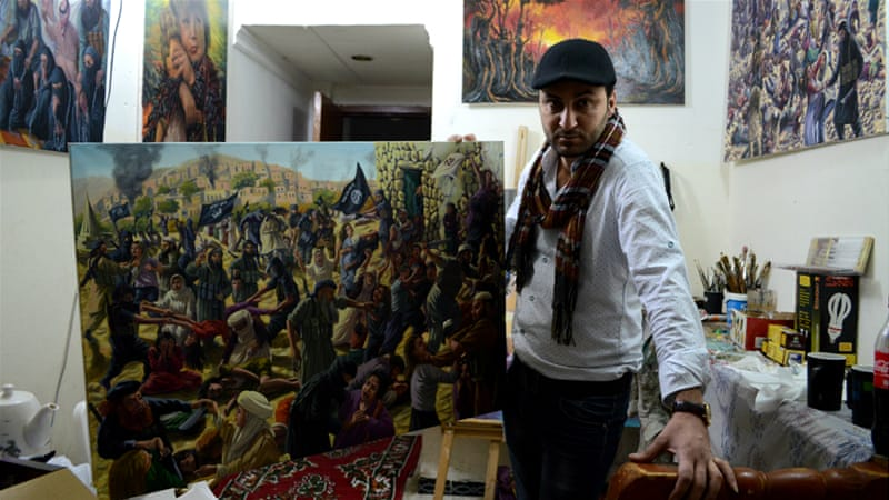One of the paintings depicts ISIL's attack on Yazidi women in the Sinjar area last summer [Mohammed A Salih/Al Jazeera]