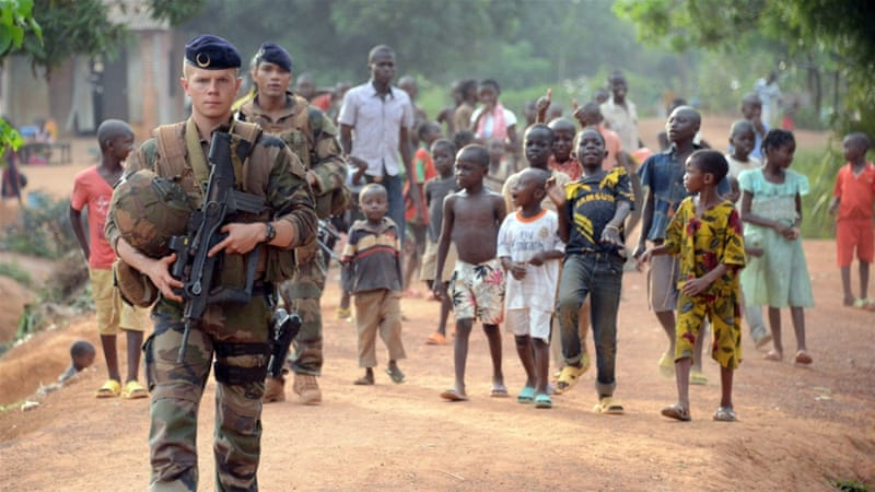 French soldiers patrol a street in Bangui [AFP]
