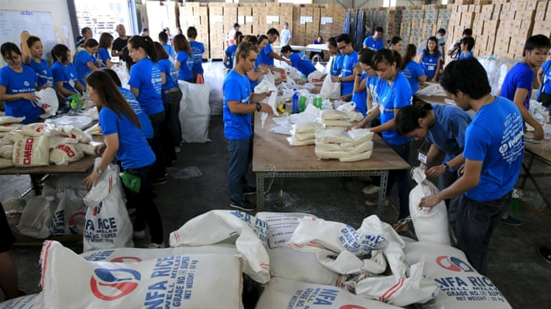 Philippine authorities have been preparing food rations for those affected by the typhoon [Reuters]