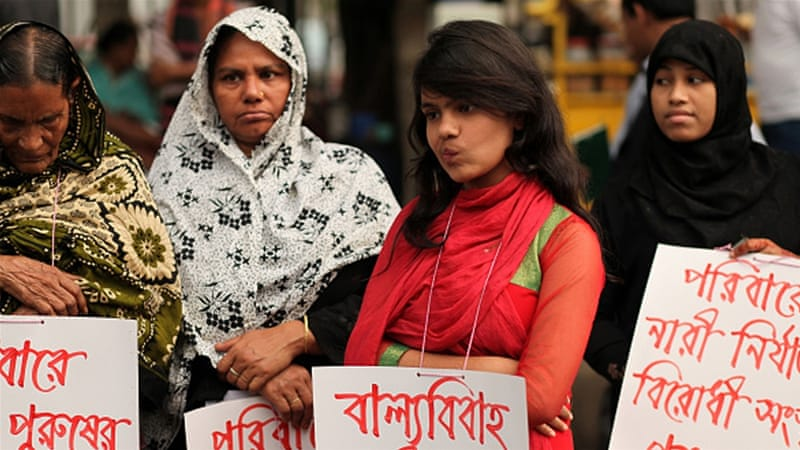 Bangladeshi women protest against child marriage in Dhaka [Getty]