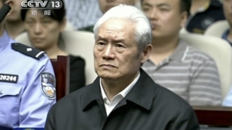 Zhou Yongkang in a courtroom in China [AP]