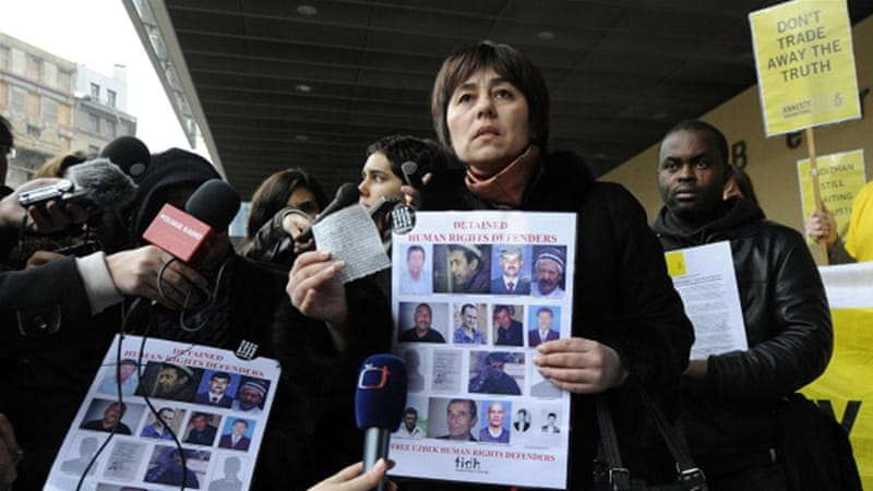 Uzbek human-rights activists at a rally in favour of detained Uzbek human-rights defenders in Brussels in 2011 [AFP]