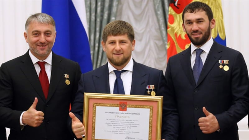 Ramzan Kadyrov attends a ceremony to confer the 'City of Military Glory' title to five Russian towns, at the Kremlin [Getty]