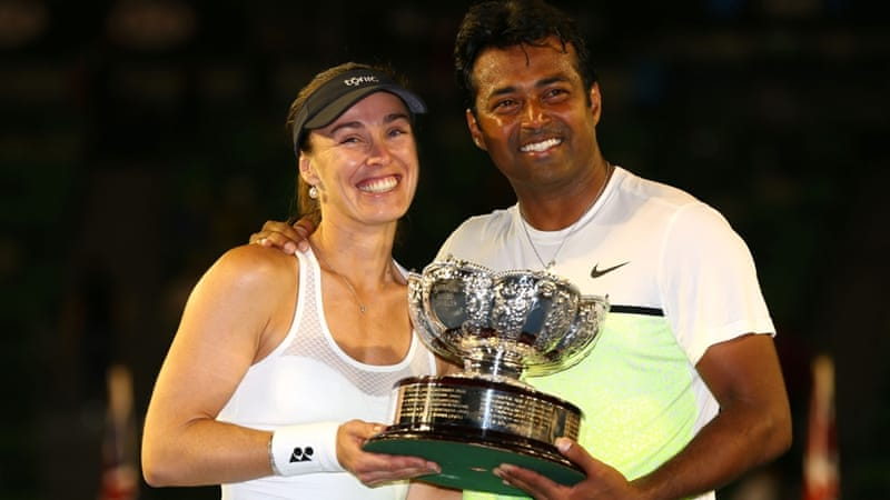 Paes and Hingis won the mixed doubles event at the 2015 Australia Open [Getty Images]