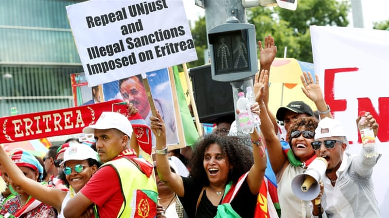 Earlier in the week thousands of Eritreans opposing the UN findings demonstrated in Geneva, calling the report 'anti-Eritrea' [EPA]