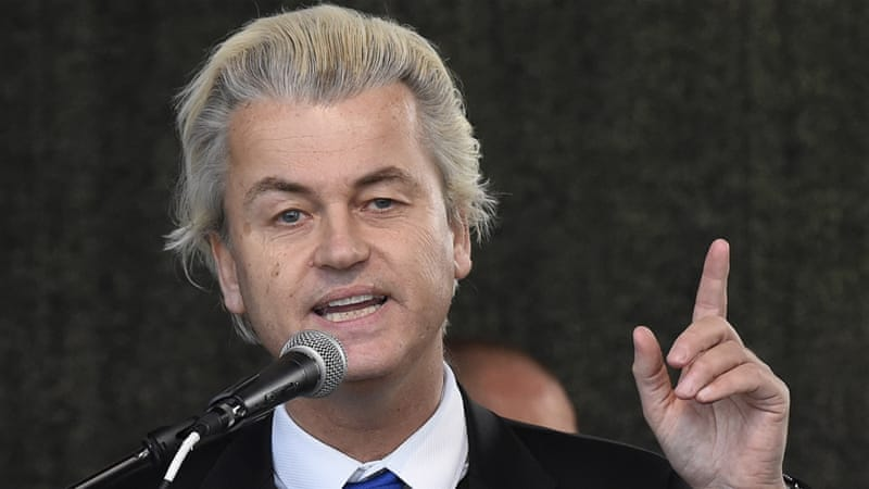 Politician Geert Wilders said he wanted to showcase cartoons of Prophet Muhammad on Dutch television on airtime usually reserved for political parties [AP]