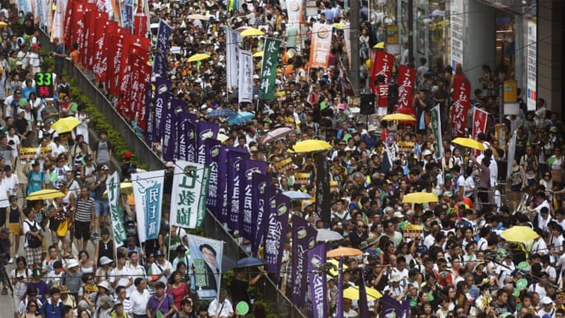 About 48,000 people turned out, according to Daisy Chan of protest organiser Civil Human Rights Front [AP]