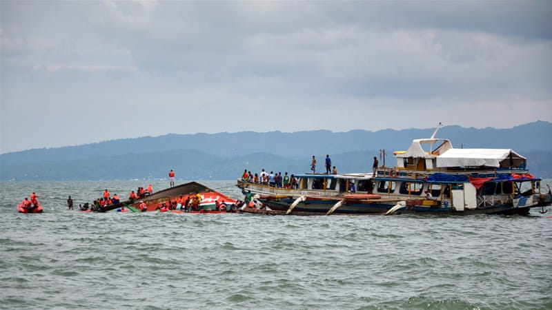 Emergency teams rescued more than 100 people from the seas off Ormoc City in Leyte province [EPA]