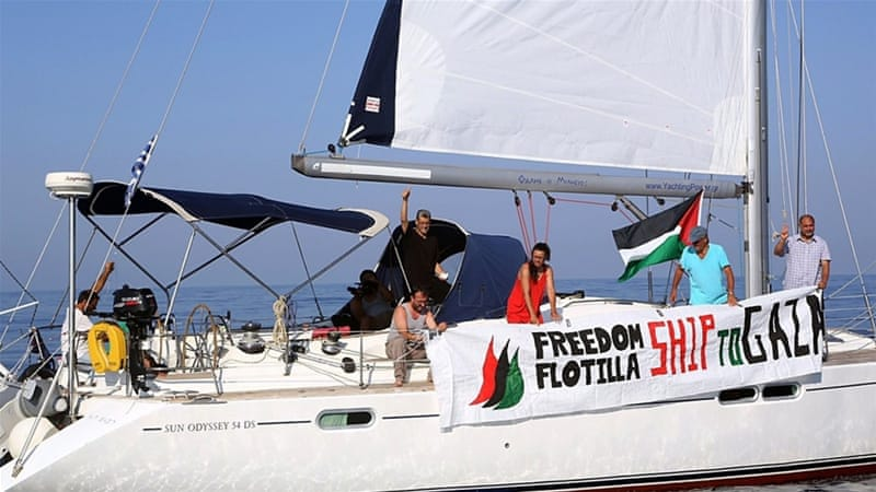 A ship from the third Gaza Freedom Flotilla sailing in the Mediterranean sea after departing from an Israeli port [Getty]