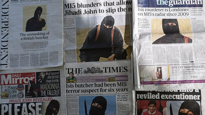 UK headlines were dominated in February 2015 by the identification of the ISIL executioner [Daniel Sorabji/AFP/Getty]