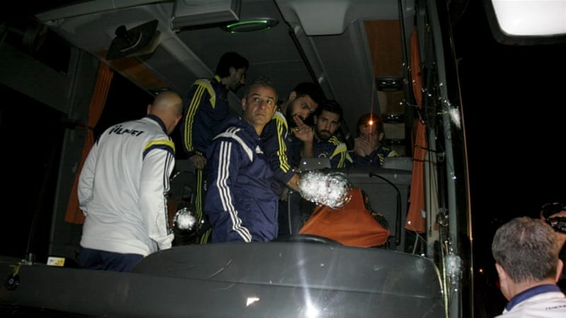 Fenerbahce's team bus was shot at in April [Reuters]