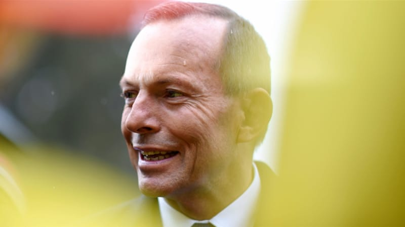 Abbott survived a leadership challenge from within his party in February [Lukas Coch/EPA]