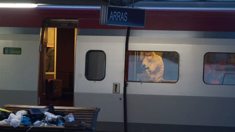 The suspected train attacker was arrested at a railway station in the northern French town of Arras [AP]