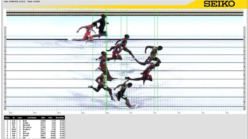 Bolt edged out Gatlin by 0.01 seconds [EPA]