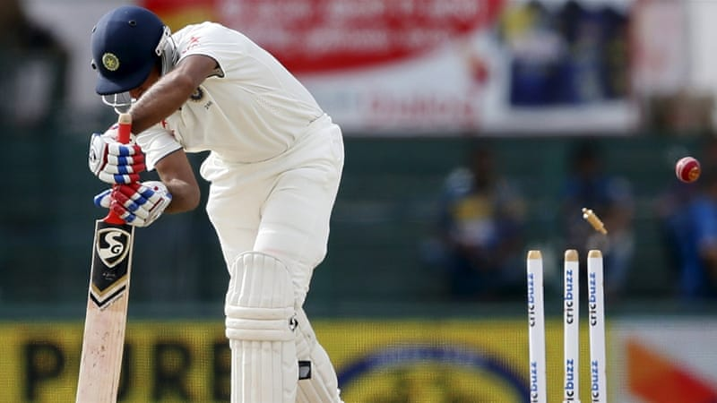 First-innings' centurion Pujara was bowled for a duck [Reuters]