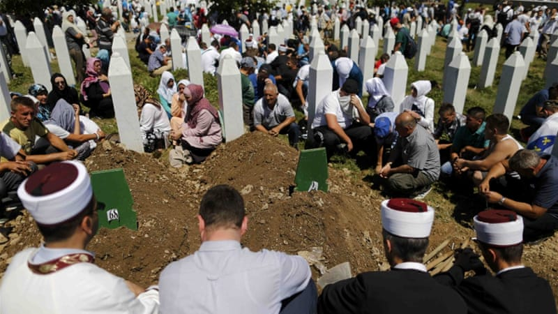 Some 8,000 Muslim men and boys were killed and their bodies dumped in mass  graves during the massacre [Reuters]
