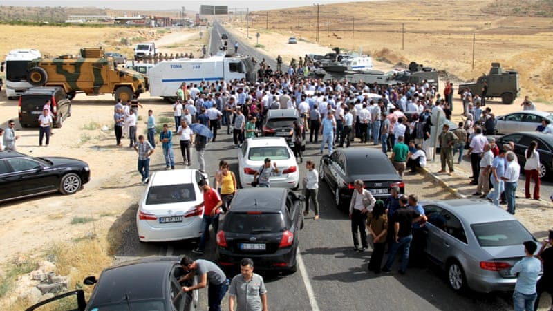 Demirtas has been leading dozens of supporters on a march to Cizre in an attempt to break the curfew [Reuters]