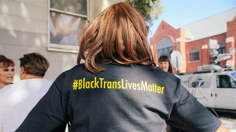 Janetta Johnson, a long-time trans* activist, sports a Black Trans Lives Matter shirt [Amanda Harris]