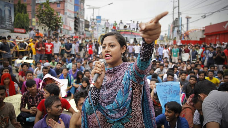 On Sunday, the protesters blocked major thoroughfares of Dhaka to press for their demands [Al Jazeera/Mahmud Hossain Opu]